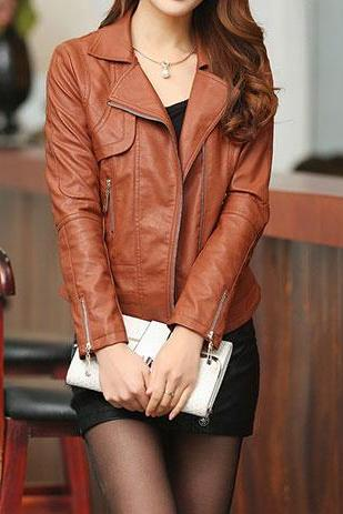Motorcycle Style Slim Fit Zippered Cropped Jacket Coat
