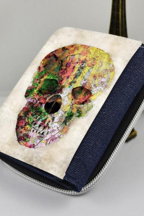Floral skull - canvas women's wallet