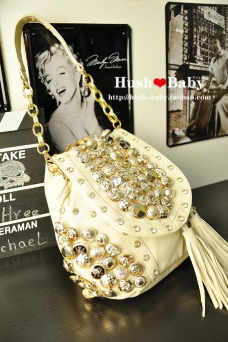 Multi-buckle Tassel Rhinestone Shoulder Bag &Messenger Bag &backpack