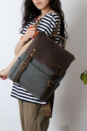 Retro European Style Leisure Canvas Backpack - Gray