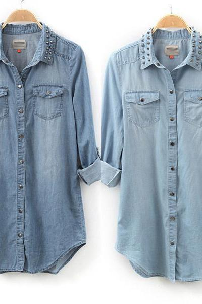 HOT Womens Retro Long Sleeve Blue Jean Denim Tops Blouse Rivet