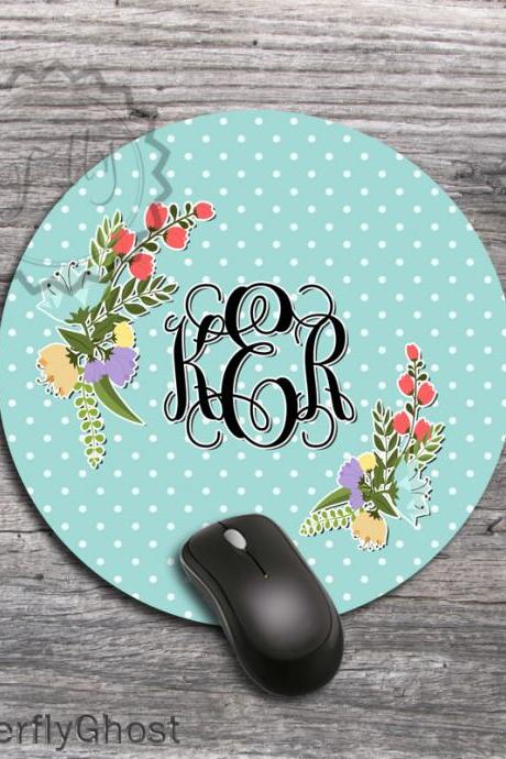 Round Computer Mousepad - Spring Flowers on a Blue background mat, design office gift, customized padding
