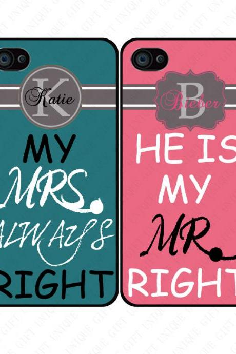 Mr right and Mrs always right Monogram couple love - iphone 4 4s case iphone 5 5s 5c case iphone 6 6 plus case ipod touch 4 5 case, Galaxy S2 3 4 mini S5 note 1 2 3 case