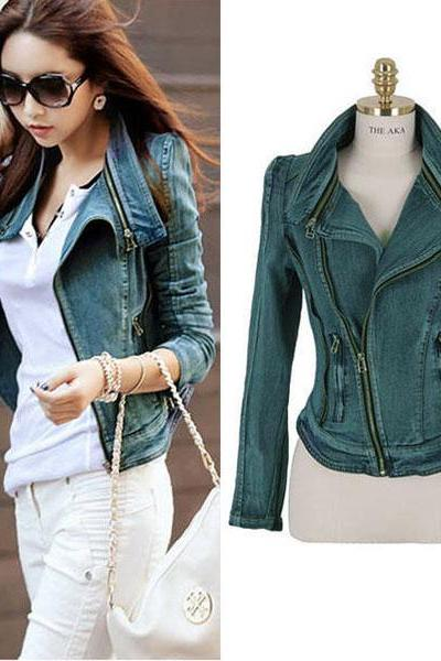 New Women Denim Jean Jacket Oblique ZIP Slim Top Short Motorcycle Biker Coat