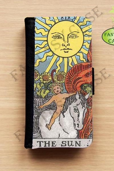 The Sun Tarot Card - iPhone 5 Wallet Case, Leather iphone 5s case, iPhone 6 Wallet Case, Leather iPhone 6 Case, Flip Case
