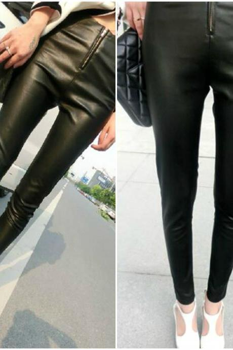 High Waist Black PU Leather Pants