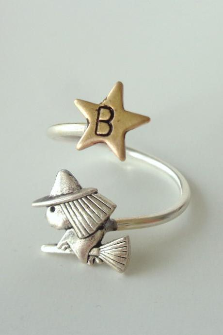 personalized witch star adjustable ring