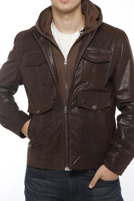 MENS FABRIC HOODED LEATHER JACKET, BIKER LEATHER JACKET MEN'S, HOODIES LEATHER JACKETS