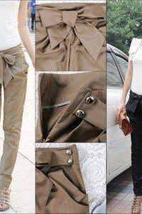 Pants With Bow In Beige
