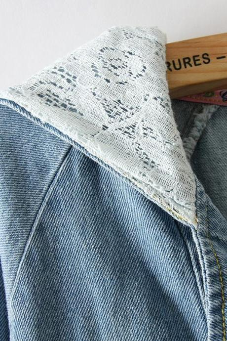 Sleeved Lace Denim Shirt Jacket