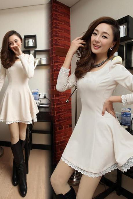 Lacing Up Back Lace Hem Long Sleeves White Dress