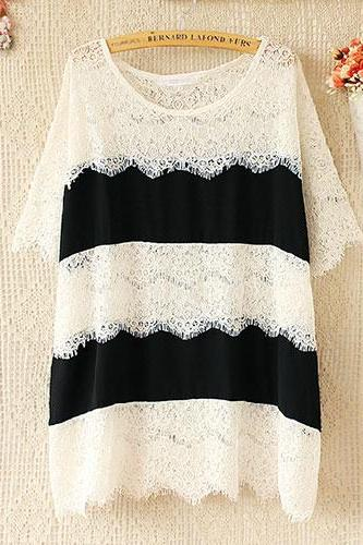 Black And White Stripe Short Sleeve Relaxed Lace Blouse