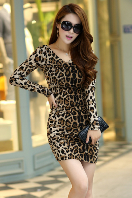 Waist dress 2015 new European long slim leopard in