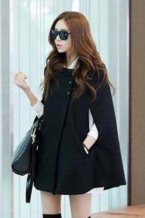 Black Coat Cape Jacket