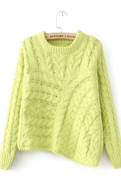 New coarse needle Hemp flowers irregular oblique triangular knit sweater