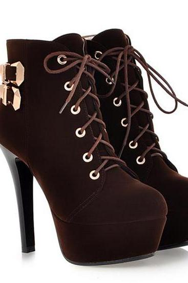 Sexy Brown Lace Up High Heels Ankle Boots