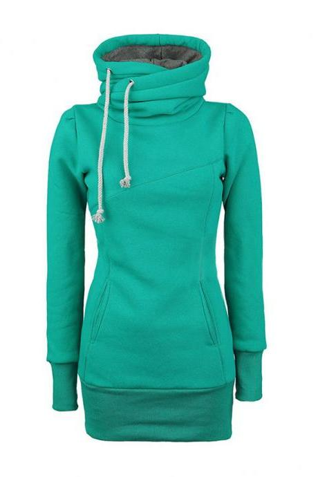 Draw String Beam Waist Korean Style Cotton Women Hoodies - Green