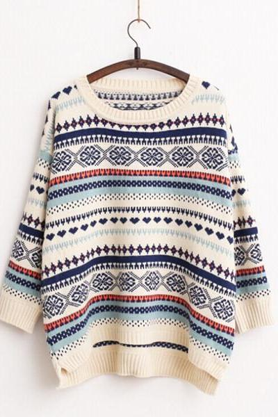 Tribal Print Loose Sweater