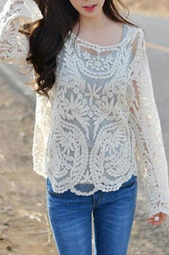 Sexy Sheer Crochet Lace Shirt Blouse Pullover Top