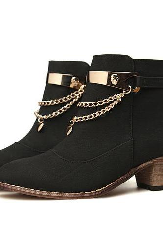 Chunky Heel Black Gold Chain Design Ankle Boots