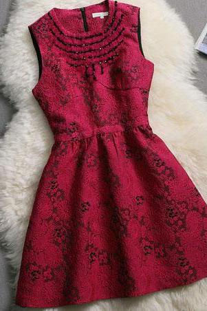 Rose Red Beading Sleeveless A-line Dress