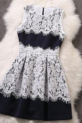 Nice Lace Sleeveless Blue Dress