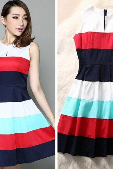 Colorful Strip Open-neck Dress