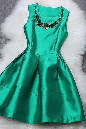 Fresh Green Beaded Sequin Sleeveless Dress