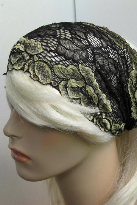 Pale Gold Flowers and Black Leaves Stretch Lace Headband Head Covering