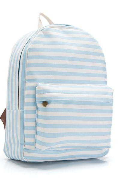Blue Stripes Canvas Backpack 0627003