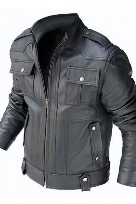 MEN'S BIKER LEATHER JACKET, MEN BLACK LEATHER JACKET, BLACK COLOR JACKET