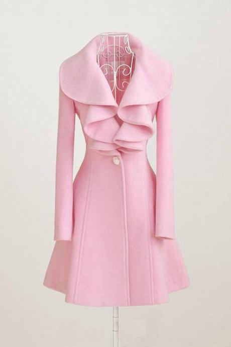 Pink Winter Falbala Parka Overcoat, Cute Pink Falbala Coat, Autumn Coat