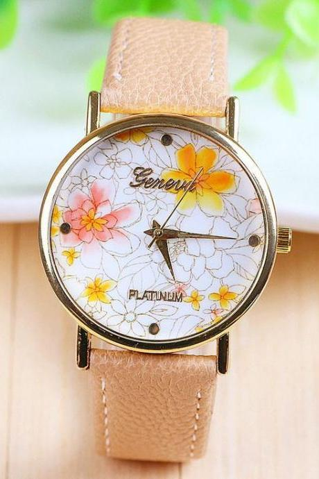Fashion yellow flowers leather girl watch