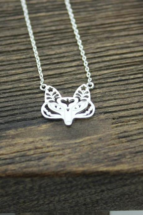 Flower Cut-Out Fox Pendant Necklace In Silver