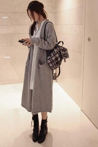 Korean Style Women Solid Color Casual Loose Long Knitted Wool Cardigan Sweater One Size