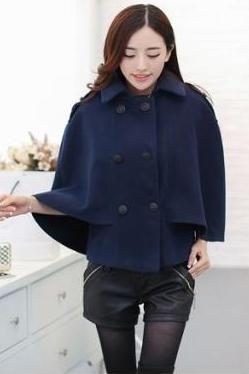 Navy Blue Poncho Coat Cloak Coat Cape Design Wool Jacket Double Breasted Outerwear Winter WC052