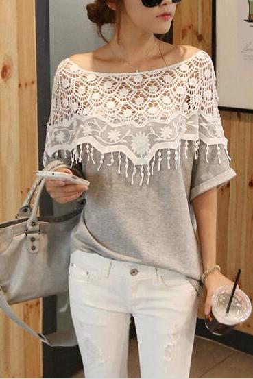 FREE SHIPPING Women's Spring Summer Fashion Short Sleeve Crochet Tassel Casual T-shirt Top