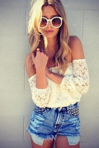 Free Shipping Women's Top Fashion White Lace Crochet Cold Shoulder Shirt Blouse