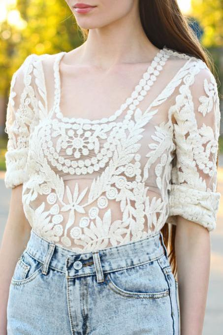 Free Shipping Bohemia Spring Fashion Women Lace Crochet Blouse Shirt Top with Scallop Hem One Size