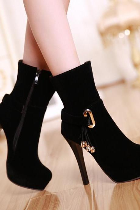Winter and Autumn Black Tassel Design High heel Fashion Boots