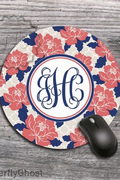 Coral Flowers Computer Mousepad - Pretty Design desk accessory, monogrammed office mat