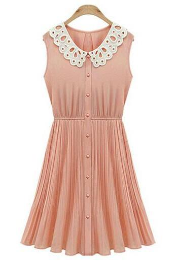 Sleeveless Peter Pan Collar Chiffon Pleated Dress