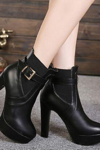 Pure Black High Heel Boots With Removable Buckle Design