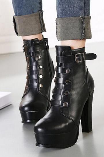 Military Style Black High Heel Winter Boots