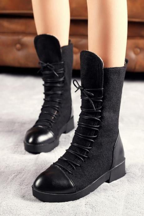 Winter Round Toe Patchwork Slip On Lace-Up Flat Mid Heel Heel Black PU Mid Calf Martens Boots