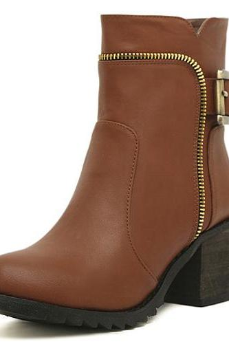 Spring Autumn Round Toe Zipper Designed Buckle Decorated Chunky High Heel Brown PU Short Cavalier Boots