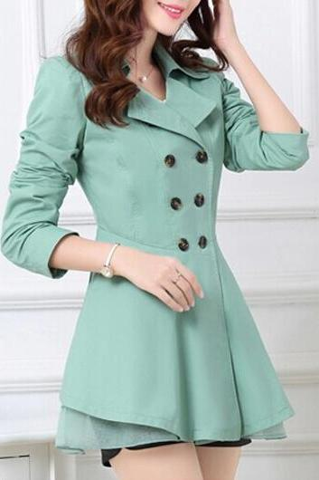 High Quality Alluring Bowtie Decoration Double Breasted Trench Coat For Woman - Green