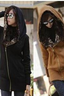 Leopard Long-Sleeved Hooded Sweater