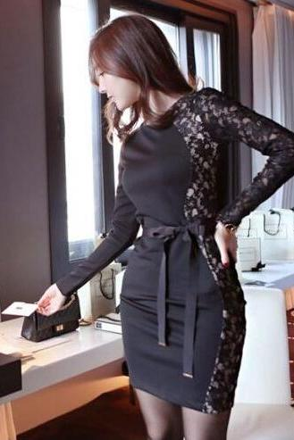 Stitching Lace Long-Sleeved Dress