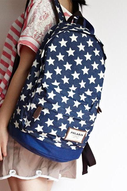 Sweet European Style Star Print Denim Backpack - Dark Blue
